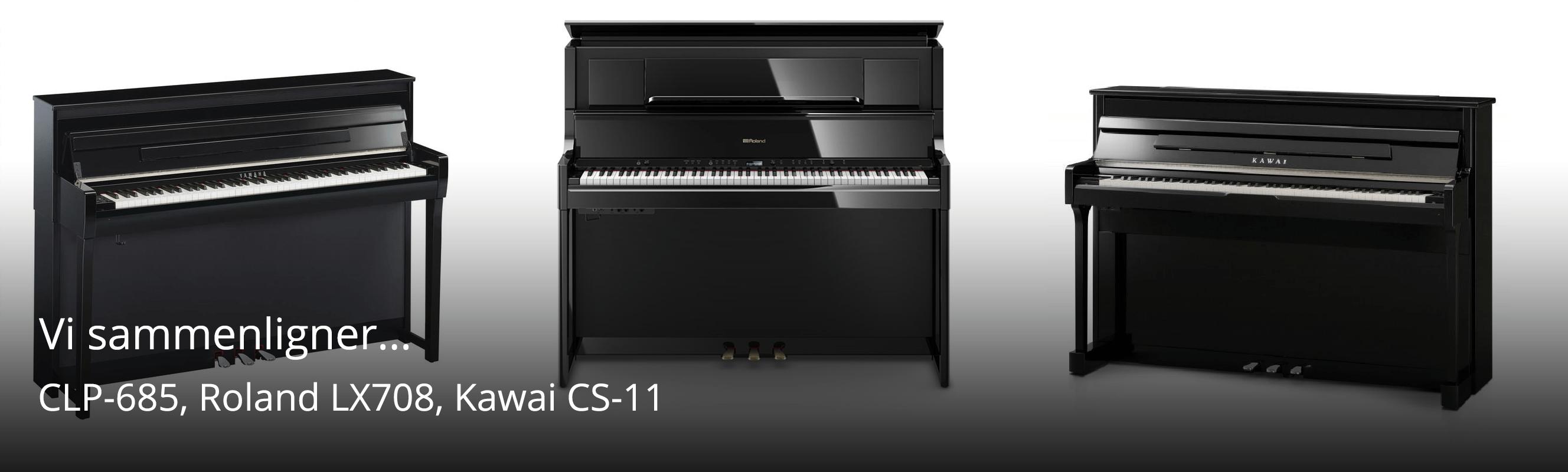 Sammenligning af Kawai CS-11, Yamaha CLP-685 og Roland LX-708