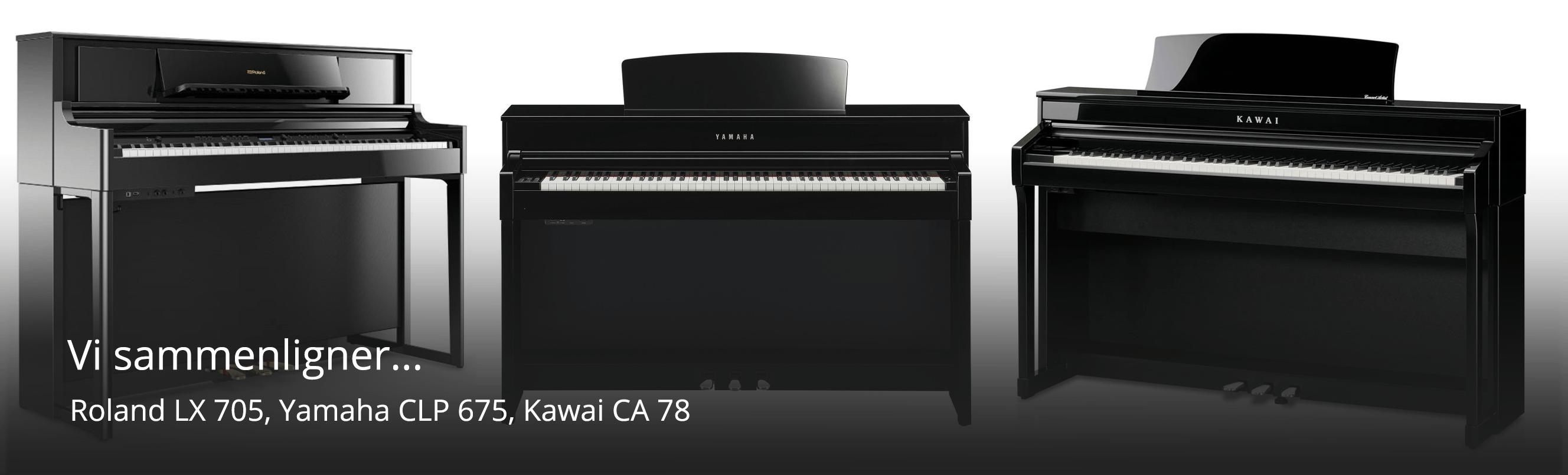 Sammenligning af Kawai, Yamaha og Roland