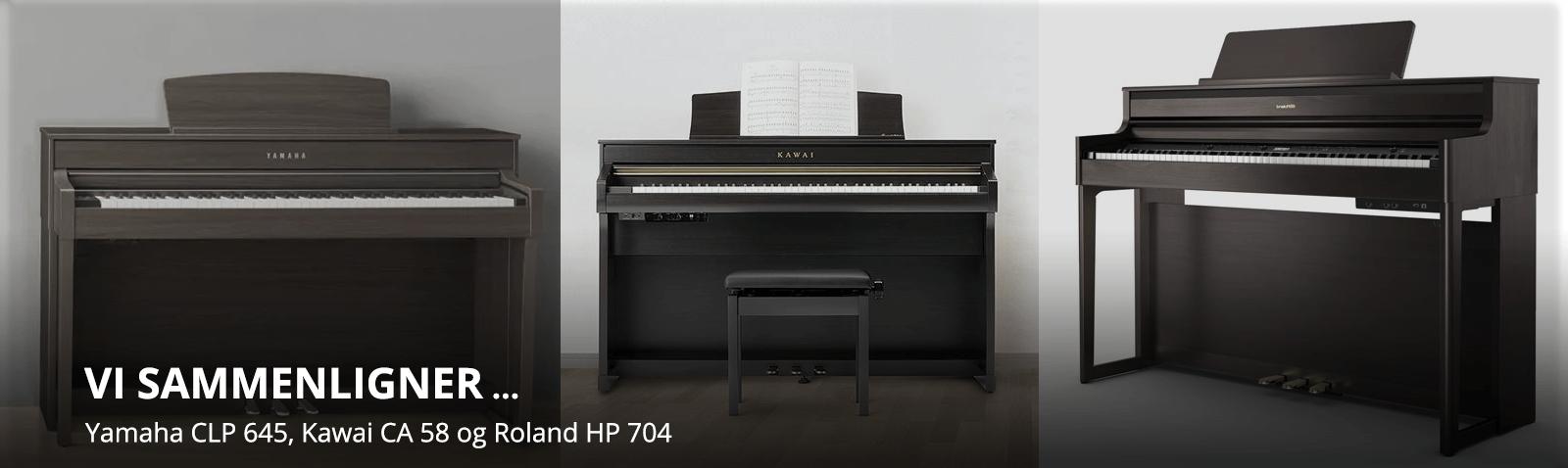 Sammenligning Yamaha CLP-645, Kawai CA-58 og Roland HP-704